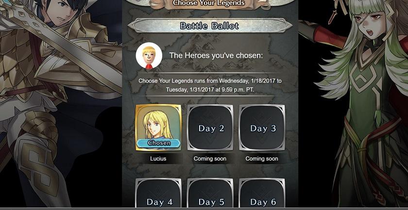 battle ballot for choose your legends event