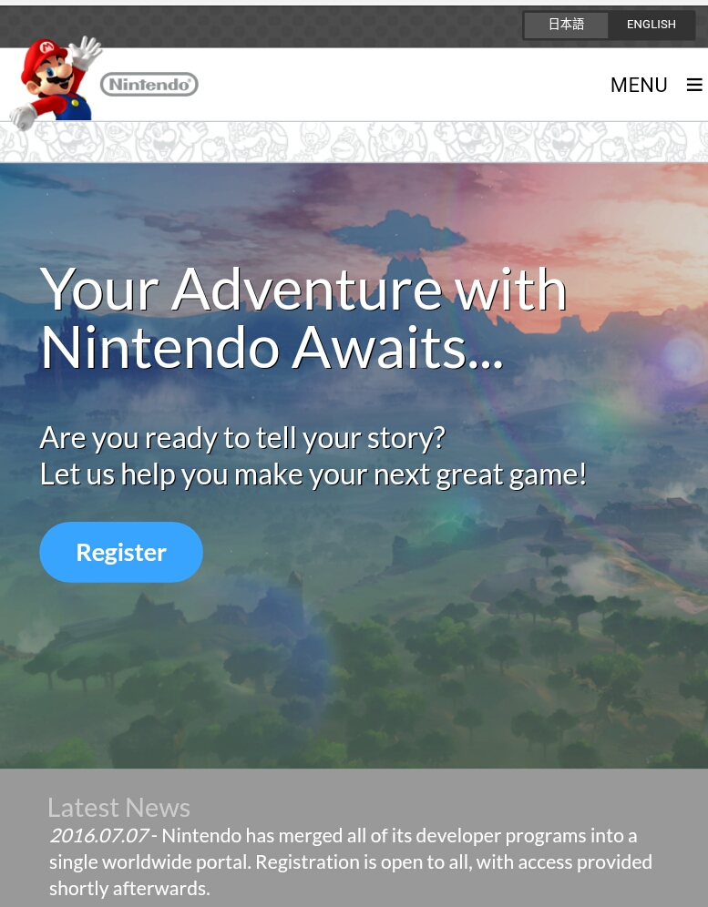 Nintendo website portal