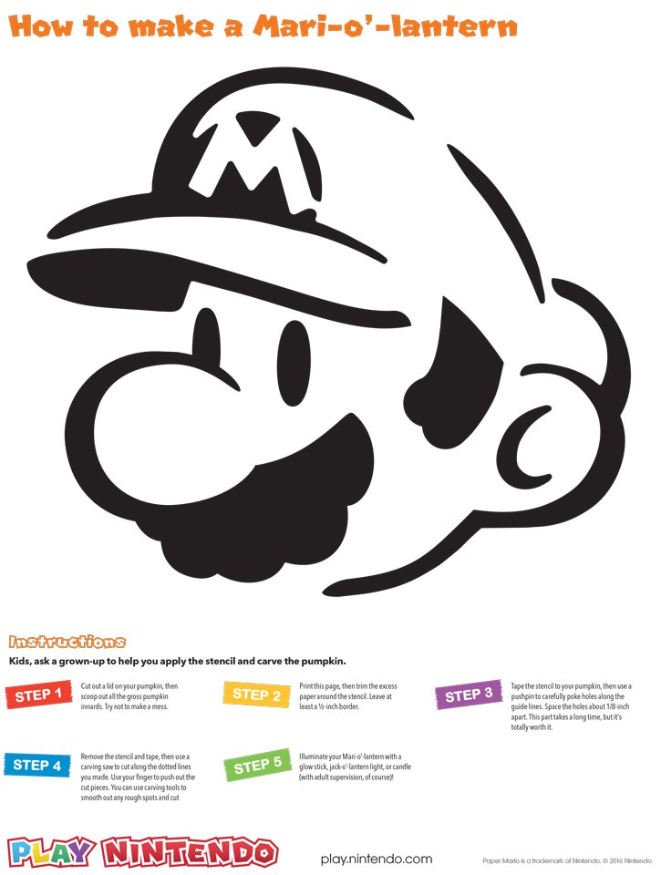 Carve your own super mario pumpkin with nintendo s