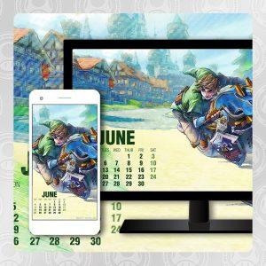 Mario Kart 8 Deluxe Calendar June 2017 Featuring Link