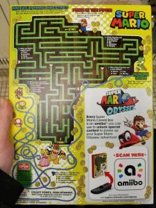 Back of Super Mario Cereal Box