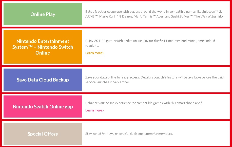 Details for Nintendo Switch Online service