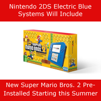 Nintendo 2DS Electric Blue Bundle