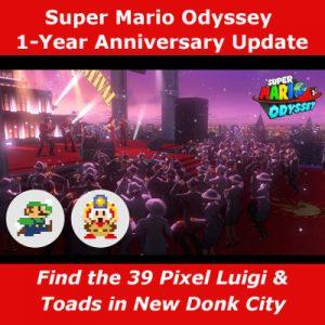 Super Mario Odyssey 1 year anniversary brings 39 pixel characters